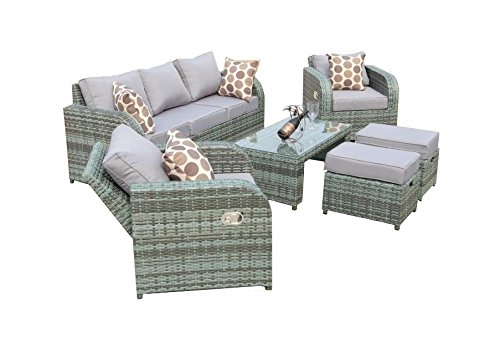 Yakoe Rattan Garden Furniture Sofa Set Plus Reclining