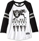 Icer Brands NFL Damen T-Shirt Oakland Raiders Running Game 3/4 Long Sleeve Tee Shirt, Größe M, Weiß