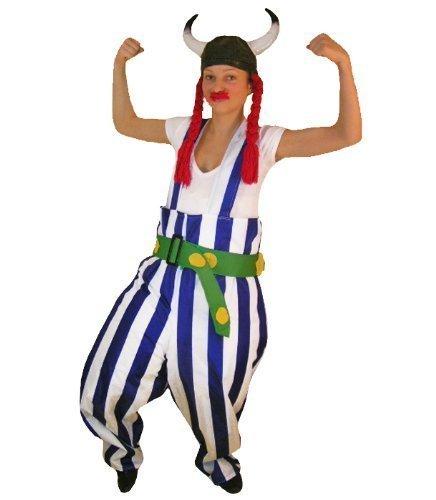 TO08 Gallier Kostüm INKLUSIVE Helm und Zöpfen ! Einheitsgröße M Gallierkostüm (Gladiator Kostüm Frauen)