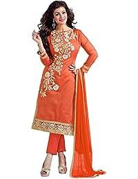 Platinum Orange Cotton Women's Dress Material (Plt 1009-Orange_Free Size)