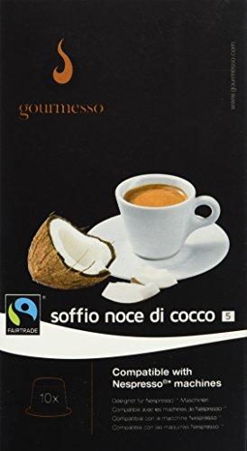 Cápsulas de Café Gourmesso Compatibles con Cafeteras Nespresso® - 10 Cápsulas de Café Compatibles (0,26€/Cápsula) Soffio Noce di Cocco (Intensidad 5)