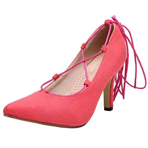 COOLCEPT Femmes Mode Talon Aiguille Escarpins Gladiateur Lacets Leopard Soiree Chaussures Cherry Rose