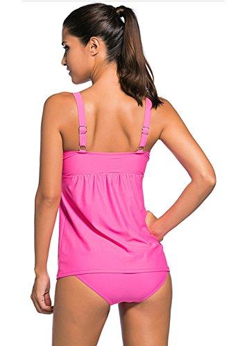Minetom Tankini Donna Moda Due Pezzi Costume Da Bagno A Le Donne Costumi Bikini Estate Elegante Piega Decorazione Rosa