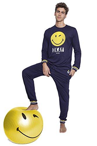 Smiley Herren Schlafanzug Marineblau