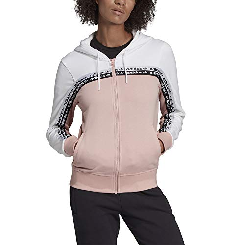 adidas Damen Track Top Hooded Tops XL White/Pink Spirit Hooded Track Top