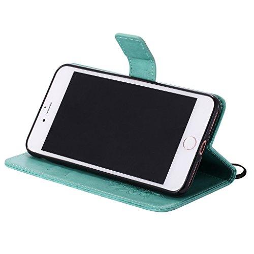 """Crisant 3D Geprägte Sonne Drucken Design schutzhülle für Apple iPhone 7 Plus 5.5"""" (5,5''),PU Leder Wallet Handytasche Flip Case Cover Etui Schutz Tasche mit Integrierten Card Kartensteckplätzen und St Grün"""