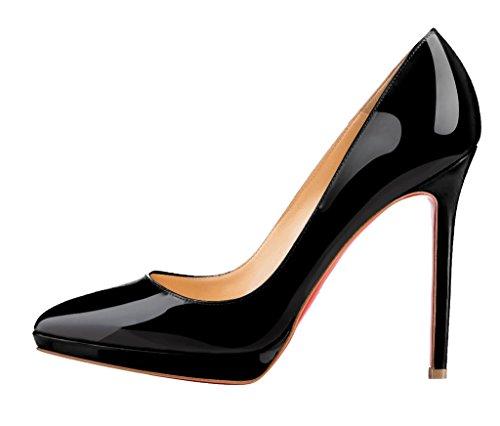 Guoar High Heels Spitze Zehen Abendschuhe Klassik Damen Rutsch Stiletto Plateau Pumps Büro-Dame Party Hochzeit Schwarz Lackleder