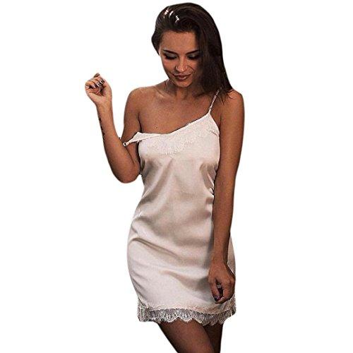 Damen Nachthemden Spitzen Dessous Damen Kleid Sexy Korsett Dessous Babydoll Nachtwäsche Unterwäsche Spitze Nachtwäsche Nachthemden (M/38, Weiß) (Spitzen-satin-sleepshirt)