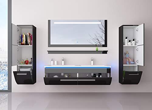 Badmöbel Set Waschbecken Spiegel und Ablage Vormontiert Badezimmermöbel Doppelwaschbecken LED Hochglanz lackiert Homeline1 Schwarz 120 cm 2 Hängeschränke
