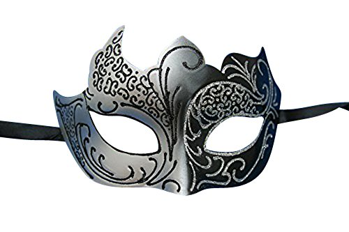 Unbekannt Schwarz und Silber für Männer und Frauen Venezianische Maskerade Partei Karneval Maske d22323 Maske Schwarz und Silber f&uumlr M&aumlnner und Frauen Venezianische Maskerade Partei Karneval