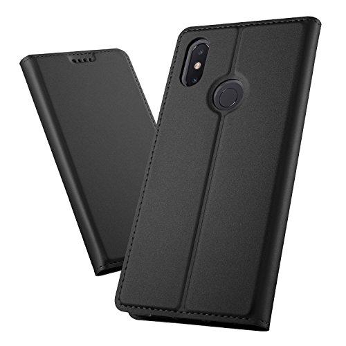 XINKO Xiaomi Mi Max 3 Wallet Tasche Hülle - [Ultra Slim][Card Slot][Eingebauter Magnet] Flip Wallet Case Etui für Xiaomi Mi Max 3 - Glatt Series schwarz