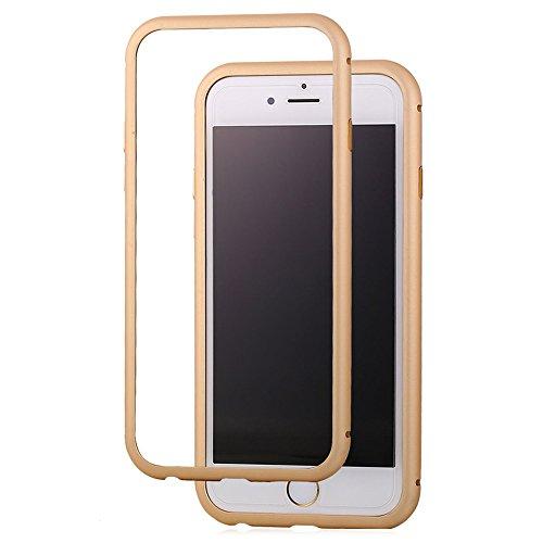 Bandmax Handy Hülle Hochwertiges Aluminium Magnetischer Metallrahmen Kratzfeste Schutzhülle Bumper Cover Case für iPhone 6/6S(Pink) Gold