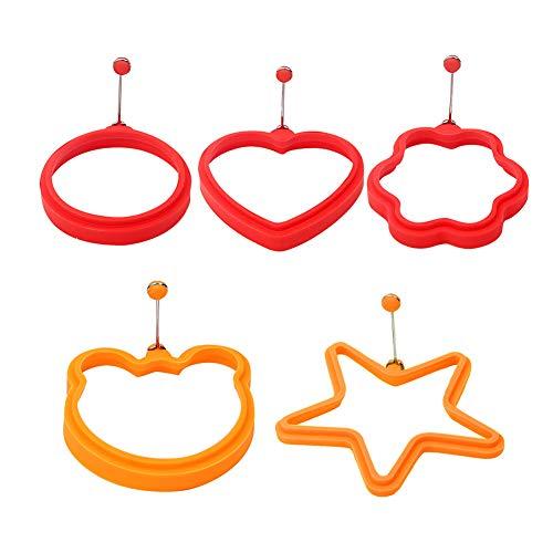 5 Stück Silikon Ei-Ring PfannkuchenFrühstück Sandwiches Eier Kochen Ring aus Antihaft Silikon von Lebensmittelqualität (Stern fünf, Kreis, Herz, Bär, Blume)