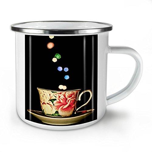 Wellcoda Tee Tasse Retro Alt Jahrgang Emaille-Becher, Geruch - 10 Unzen-Tasse - Kräftiger, griffiger Griff, Zweiseitiger Druck, Ideal für Camping und Outdoor Blühen Tee