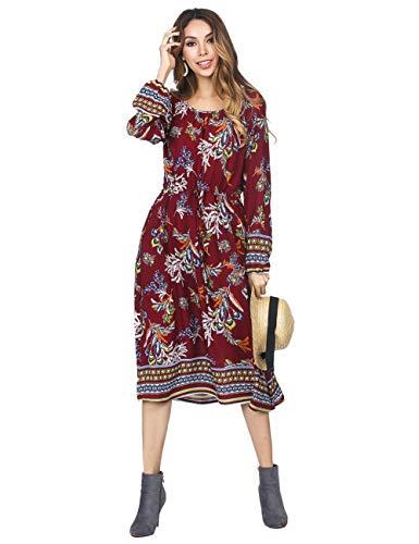 (FeelinGirl Damen Lange Kleid Kleider Sommerkleider Maxikleider Blumenkleid Blumedrucken Strandkleid Rock mit Böhmen (S (EU 34-36), Red))