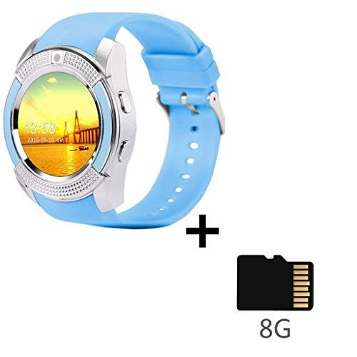HHJEKLL Intelligentes Armband Sport Herren Smart WatchSIM-Karte Android-Kamera gerundet Anruf entgegennehmen Wählen Anruf Smartwatch Herzfrequenz-Fitness-Tracker, blau 8 GB SDCard hinzufügen Kamera Web-monitoring