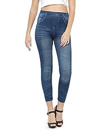 N-Gal Print Denim Look Leggings-NJ2037 (Blue)