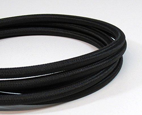 Vintage Tela Cable de iluminación | negro | 3Core