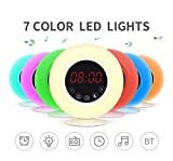 LQCN Alarm Clock Wake Up Light-Sunrise/Sunset Simulation Lampada da comodino 7 colori, funzione Bluetooth senza fili, radio FM, 4 suoni naturali, Snooze Clock.