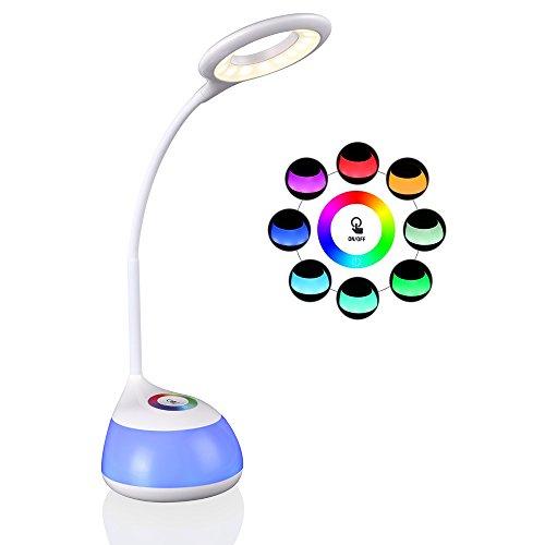 schreibtischlampe für kinder,hihigou Bunte Dimmbare Schreibtischlampen Tischlampe 3 Helligkeitsstufen (Lesen, Lern) Flexibles Arm Touchfeldbedienung menit USB-Anschluss modern tischleuchte (weiß).