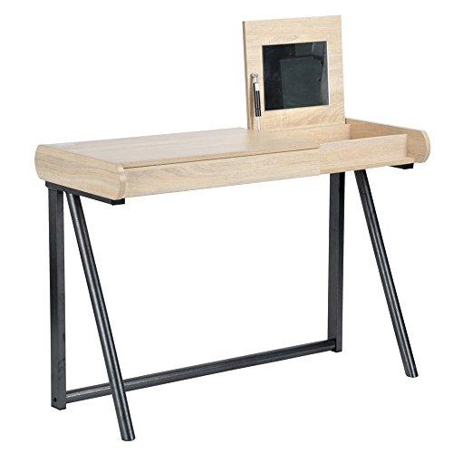 Navy Blue Furniture Büro 110x 55x 76Aufbewahrungsbox mit Klappdeckel mit Spiegel 1Schublade Panel Partikel Metall Eiche hell schwarz modernes Design