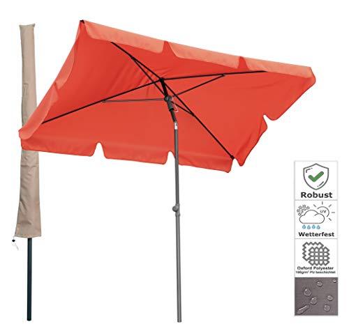 QUICK STAR Balkon Sonnenschirm 200x125cm Balkonschirm Rechteckig Knickbar Terra Gartenschirm UV 50 mit Schutzhülle