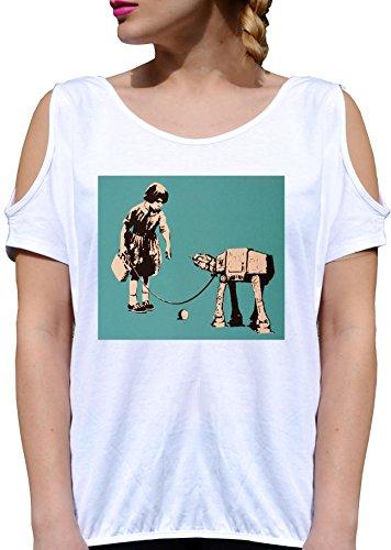 T SHIRT JODE GIRL GGG27 Z2855 PET STAR CHILD WARS ROBOT VINTAGE FUNNY AMERICA FASHION COOL BIANCA - WHITE