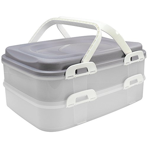 COM-FOUR® Partycontainer Transport-Box, Kuchenbehälter und Lebensmittelbox mit 2 Etagen und Hebeeinsatz, in grau pastell (001 Stück - grau pastell) -