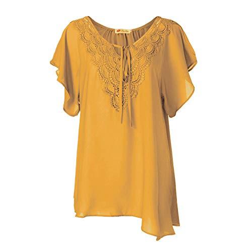 ZEELIY Damen Große Größen Oberteile Sommer Mode Frauen Chiffon Bänder Laterne halbe Hülse Mesh Perspektive Tops(XXXXX-Large,X2-Gelb) -