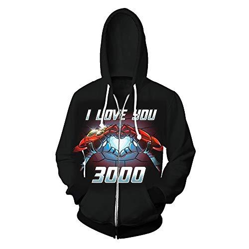 Wild WY Herren Hoodies Avengers 4 Iron Man Hoodie 3D Druck Zip Strickjacke Kapuzenpullover Cosplay Sweatshirt Jacke 4 Zip Hoodie