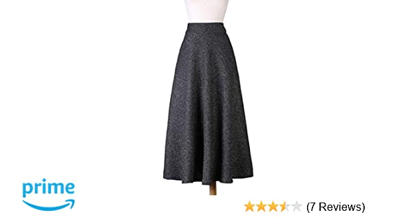 dcd955ef4a Nantersan Women's Woolen Long Maxi Skirt High Waist Skirts for Ladies A-line  Full Length Skirt Casual Retro Thicken Skirt Fall Winter Warm Black: ...