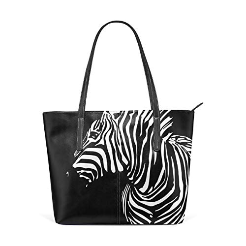 XGBags Woman's Custom Leather Tote Bag Black Zebra Soft Capacity Single Shoulder Bag Handbags Sling Bags Purses For Work Shopping Travel College Tote Umhängetaschen