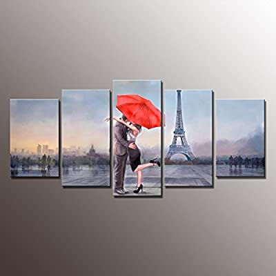 Home Decor Canvas Wall Art- Gallery Framed Canvas Print Picture Love In Paris Modern Landscape Painting Print Wall Decor Art for Home Decoration Original from Nuolan-UK-P5LA005