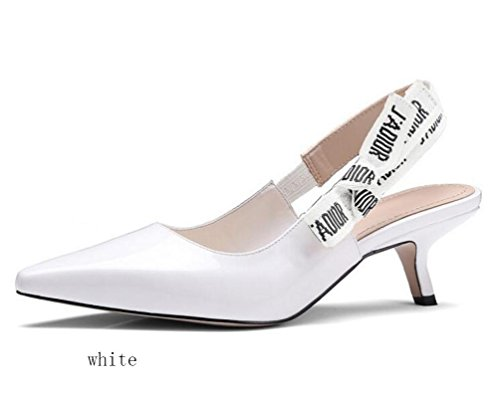 OL Pompes Wedding Pointed Peep Toe Kitten Low Heel Sling Retour Femmes élégantes Casual Date Chaussures UE Taille 34-40 White