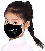 قناع وجه بطباعة كرتونية بسيطة للأطفال قابل للتعديل ضد الغبار الدخان آمن فلتر التنفس صمام الفم قناع الفم