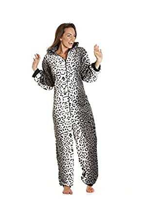 Camille Womens Various Style Super Soft Animal All In One Pyjama Onesies 8/10 Snow Leopard Onesie
