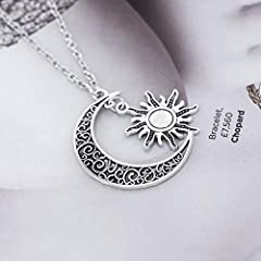 Idea Regalo - Simsly retro sole luna e stella collana accessori gioielli Song of Ice and Fire regolabile per donne e ragazze