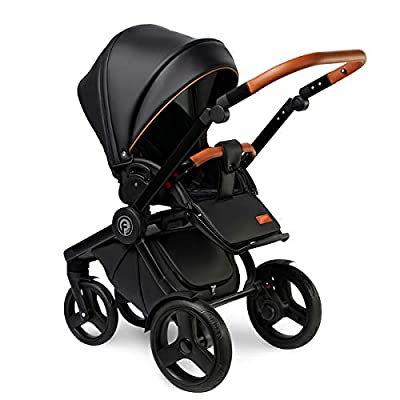 Krausman Kinderwagen 3 in 1 Topaz Lux Black Kombikinderwagen Babyschale Babywanne Sportwagen Design Made In Germany