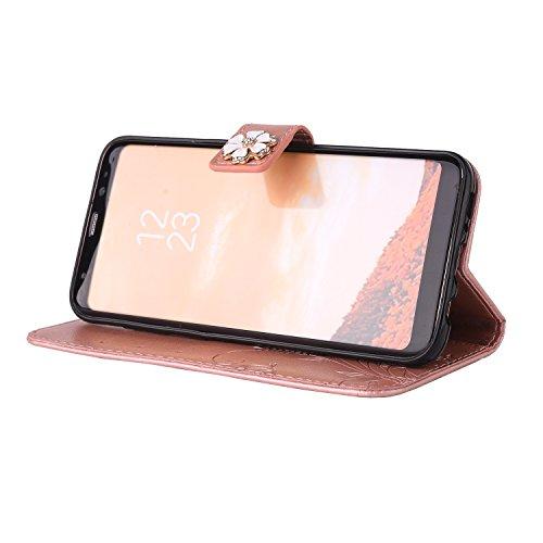 Custodia Cover per iPhone 5/5S/SE,Ukayfe Luxury Protettiva Flip Portafoglio Copertura Case con Super Sottile TPU Interno Case e Porta carte di credito in PU pelle Supporto Stand con Chiusura Magnetica Oro rosa