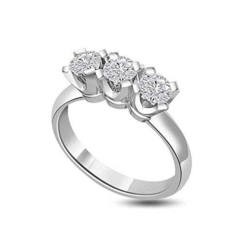Drei Steine Trilogy Ring für damen mit Runder Brillantschliff diamanten in 18kt (750) Weißgold (Size 51) ()