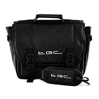 New TGC ® Messenger Style TGC Padded Carry Case Bag for The Audiovox D1020 10-inch (Jet Black)