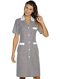 Isacco-Bata De trabajo Positano, diseño De rayas, color negro, color blanco, 100% algodón
