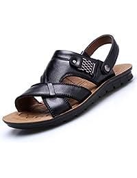 b1c5c1730de KItipeng Chaussures Homme — Tongs Sandales Mules Cuir Homme Pas Cher,Grande  Taille Chaussures De Travail De Sport De Plage,Noir