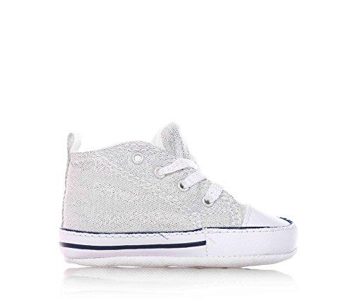Converse–Argent Chaussures à lacets bébé Berceau, Logo latéral et sur la semelle, enfant, fille, filles Gris