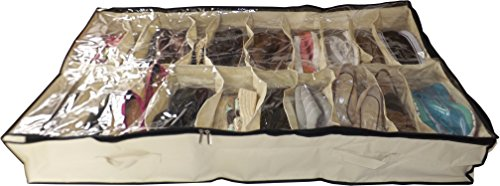 Neusu borsa per conservazione scarpe sottoletto da 20 paia xl - 20 tasche, fino a 20 paia – resistente tessuto 600d con copertura trasparente in pvc da 2mm - extra large 120cm x 72cm x 18cm