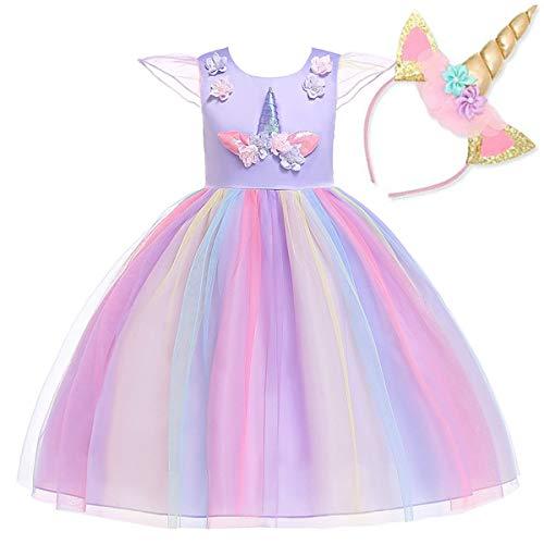 NNDOLL Mädchen Einhorn Rüschen Blumen Cosplay Partykleid Brautkleid Prinzessin Lila 130 5 6 Jahre (Bis Kostüm Kind)