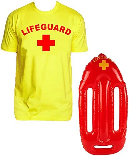 Für Party Minute Last Kostüm Eine - Lifeguard Kostüm Rettungsschwimmer 2 teilig Set T-Shirt gelb + Schwimmboje Gr.M