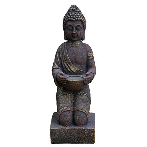 gartendekoparadies.de Wunderschöner massiver Stein Buddha kniend Mönch aus Steinguss frostfest