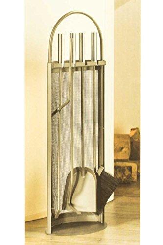 Livarno® Kaminbesteck 5-Teilig, Bürste, Schaufel, Schürhaken, Zange & Besteckhalter (Stahlgitterblende)