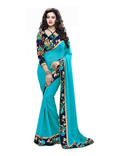 RJB Women's Georgette Saree with Blouse Piece (B-Rama), Free Size